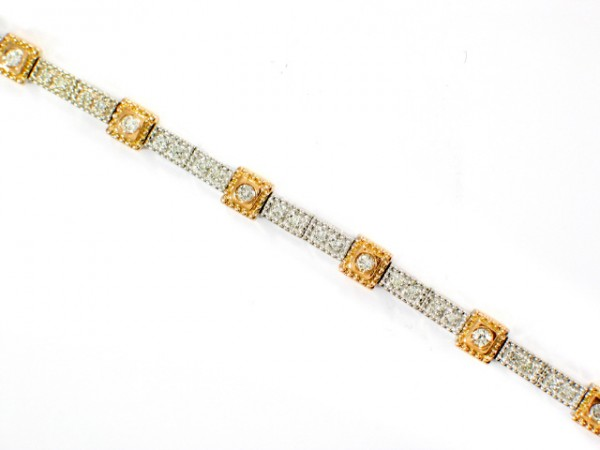 14K White and Rose Gold Diamond Bracelet