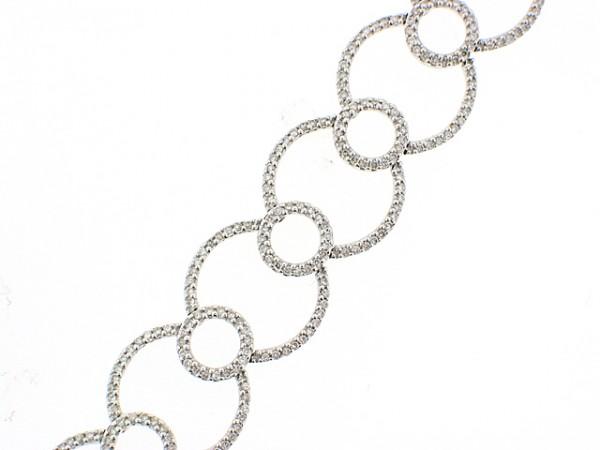 14K White Gold Diamond Circles Bracelet
