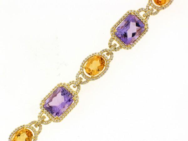 18K Amethyst, Citrine and Diamond Bracelet
