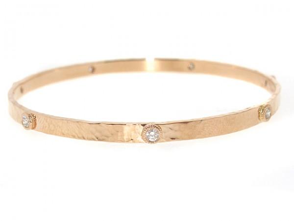 14K Brushed Polished Diamond Bangle, 0.50ct