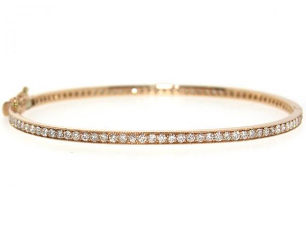 14K Pave Set 100 Diamond Bangle Bracelet, 1.92ct