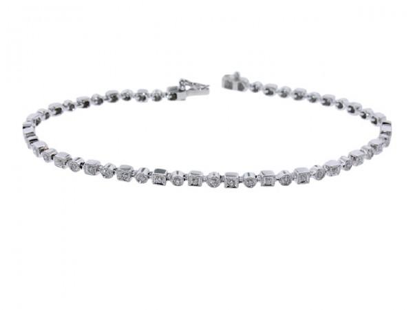 Square and Round Diamond Tennis Bracelet