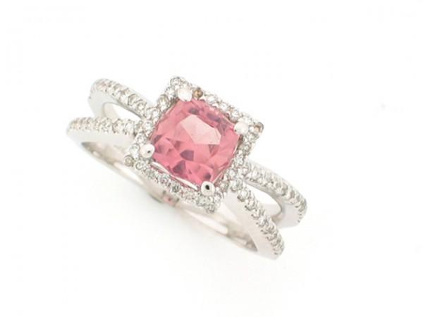 1.25ct Pink Tourmaline and Diamond Ring