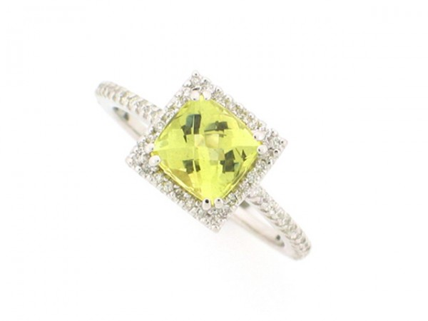 1.28ct Yellow Beryl and Diamond Ring