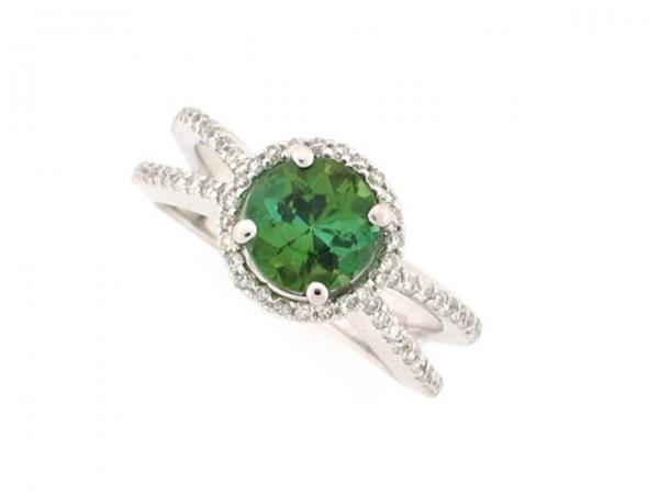 1.45ct Green Tourmaline and Diamond Ring