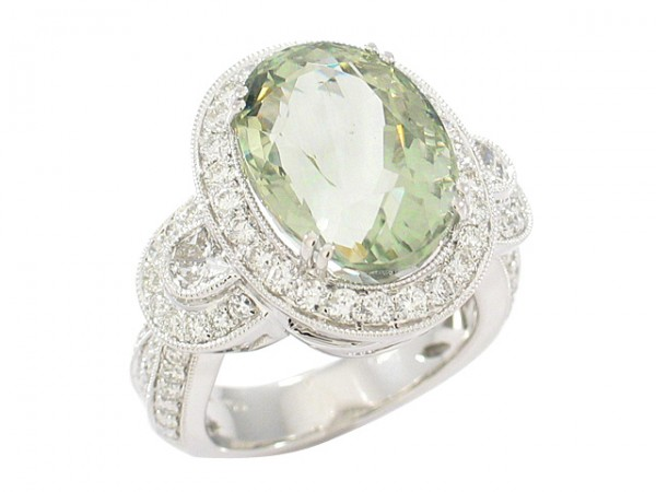 10.28ct Green Amethyst and Diamond Ring