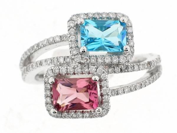 14K Blue and Pink Topaz Diamond Ring