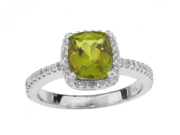 1.50ct Green Tourmaline and Diamond Ring