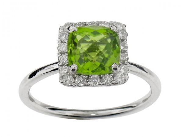 1.90ct Peridot and Diamond Ring