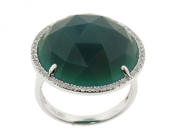 1.77ct Green Onyx and Diamond Ring
