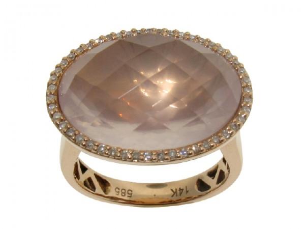 11.64ct Rose Quartz and Diamond Ring