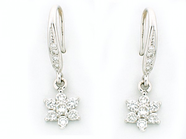14K White Gold Floral Fashion Earrings