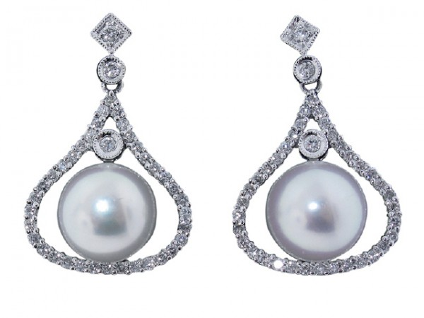 18K Diamond and Pearl Drop Earrings