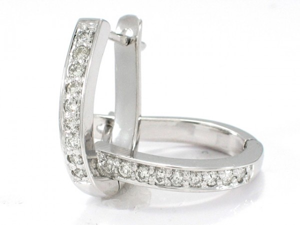 14K Elipse Shape Diamond Hoops