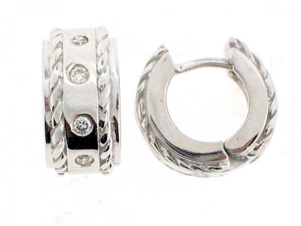 14K White Gold and Diamond Earrings