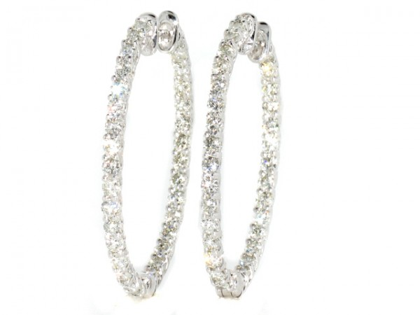 14K Diamond Hoop Earrings 3.90ct