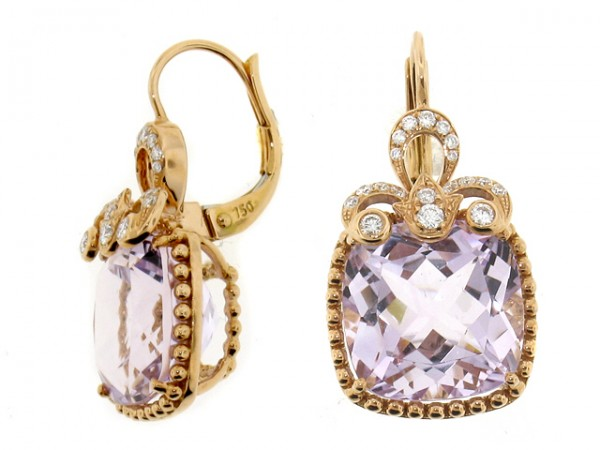 18K Rose Amethyst adn Diamond Earrings