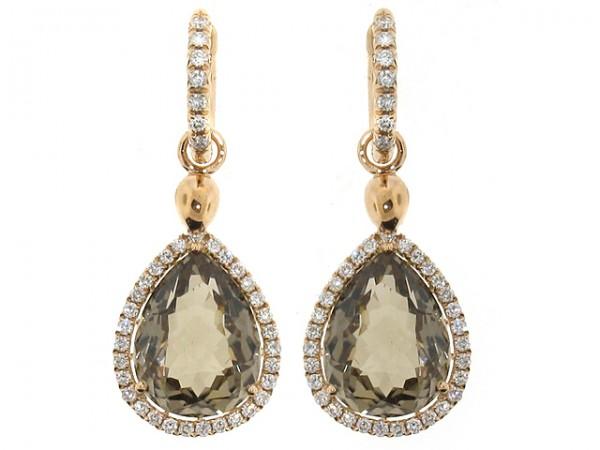 18K Smoky Topaz and Diamond Earrings