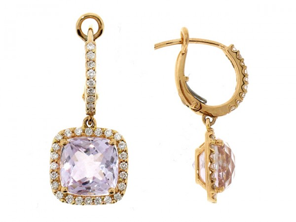 18K Rose Amethyst and Diamond Earrings