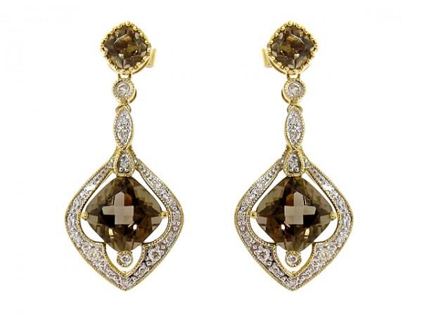 14K Diamond and Smokey Topaz Earrings