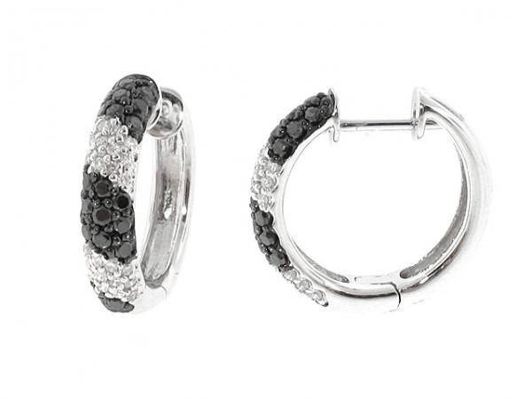 14K Black and White Diamond Hoops