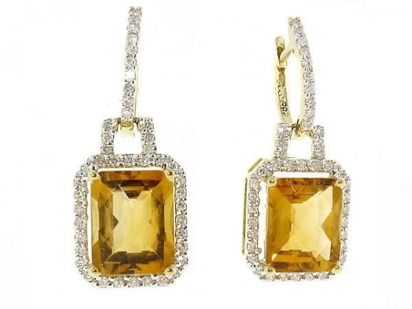 14K Citrine and Diamond Earrings
