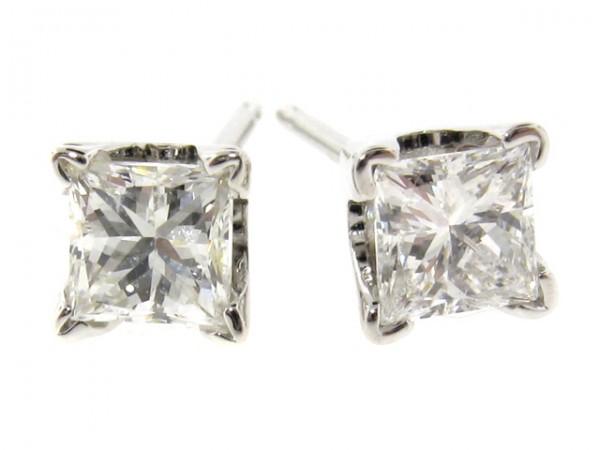 14K Princess Cut Diamond Studs, 0.73ct