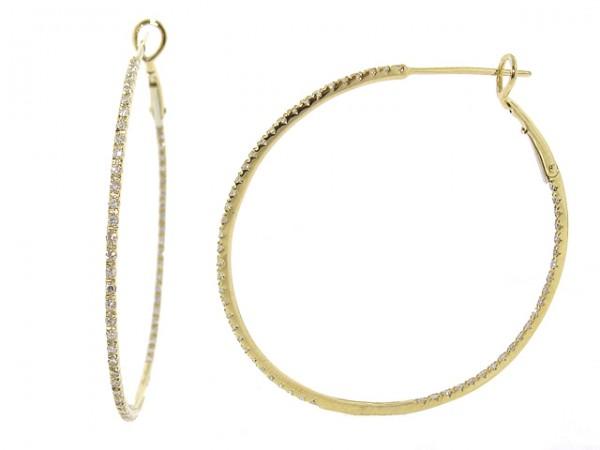 0.43ct Large Round Diamond Hoop Earrings