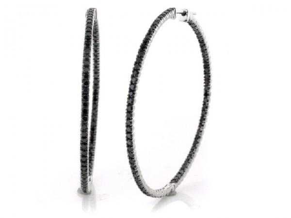 14K Black Diamond Hoop Earrings