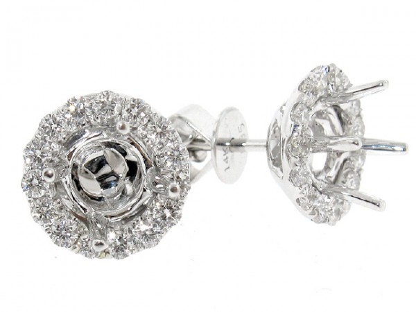 18K Halo Diamond Stud Earrings