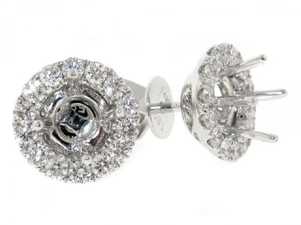 18K Diamond Stud Earring Halo