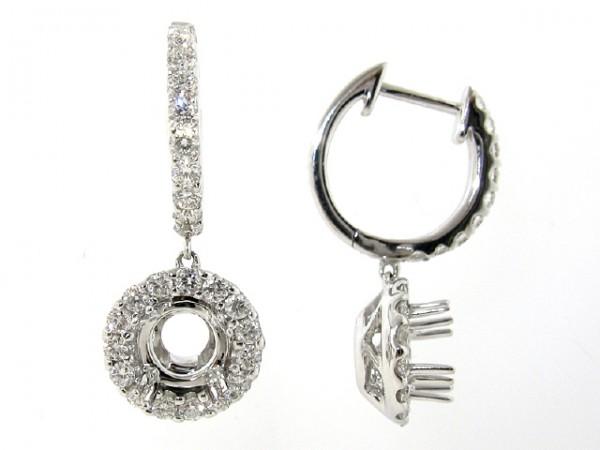 18K White Gold Dangling Diamond Earrings
