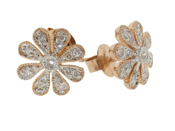 0.18ct Diamond Flower Stud Earrings