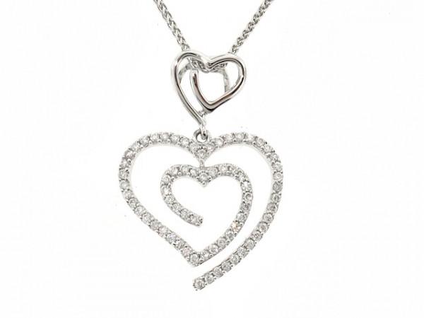 1/3CT Double Heart Diamond Pendant
