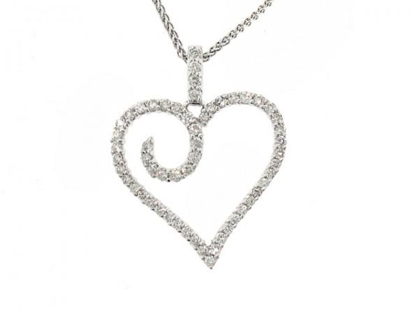 1/2ct Modern Diamond Heart Pendant