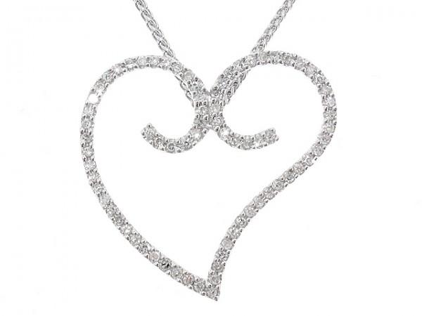 1/3CT Diamond Heart Twirl Pendant