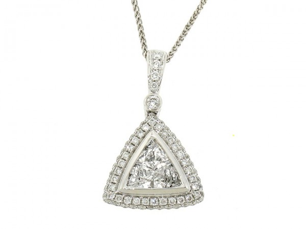 1.24ct Trillion Diamond Halo Pendant