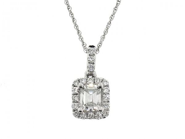 0.44ct Emerald Diamond Halo Pendant