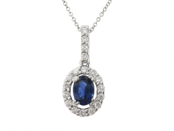 1.08ct Sapphire and Diamond Pendant