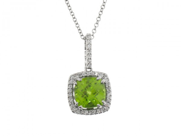 1.72ct Peridot and Diamond Pendant