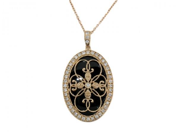.37ct Diamond and Onyx Pendant