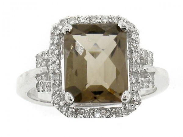 14K Smokey Topaz and Diamond Ring
