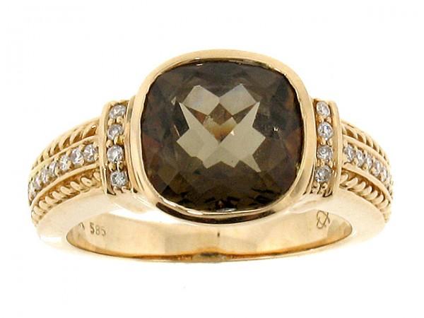 14K Rose Gold Smoky Topaz and Diamond Ring