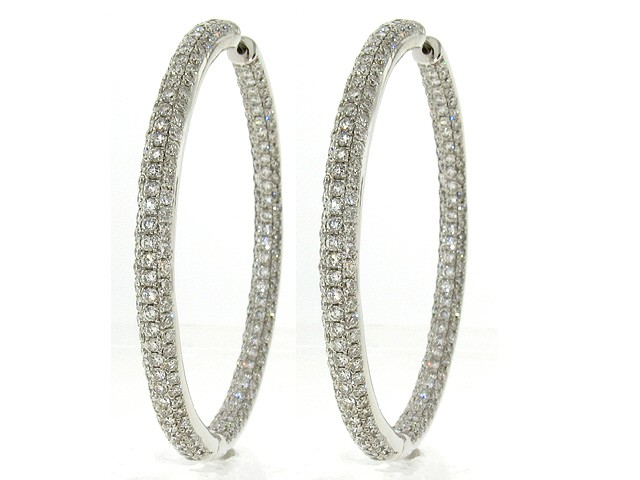 0a4d9166e 18K Large Diamond Hoop Earrings, 9.25ct - Hoop Earrings - Earrings ...