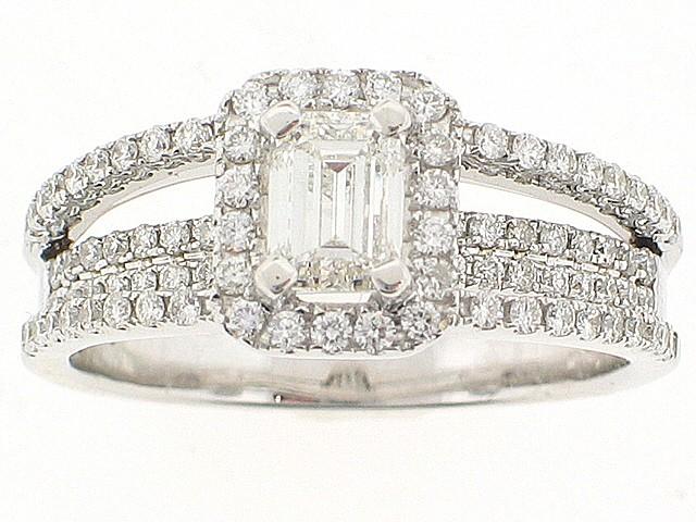 18k Emerald Cut Diamond Right Hand Ring