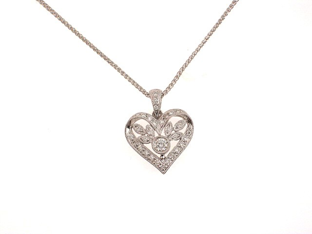 18k antique style diamond heart pendant heart pendants pendants 18k antique style diamond heart pendant aloadofball Image collections