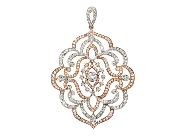 18k diamond art nouveau pendant in rose gold diamond pendants 18k diamond art nouveau pendant in rose gold aloadofball Image collections