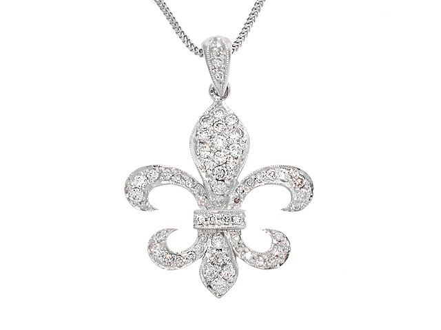 14k diamond fleur de lis pendant 135ct diamond pendants 14k diamond fleur de lis pendant 135ct aloadofball Image collections