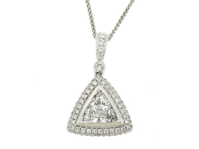 28f5ac4c04bed 1.24ct Trillion Diamond Halo Pendant