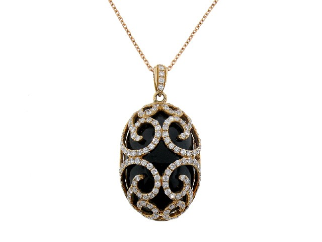 Oval onyx and diamond rose gold pendant color stone pendants oval onyx and diamond rose gold pendant aloadofball Images
